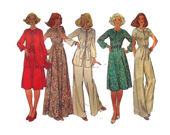 """Uncut McCall's 5806, 70s sewing pattern, size 12 bust 34"""" women's dress and jumpsuit pattern, raglan sleeves, maxi dress"""