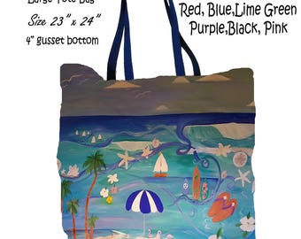 The beach art double sided art printed beach bag from my artwork.