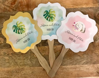 Personalized Wedding Fans - Hand Paddle Fan Favors - Tropical Beach Wedding Favors - Wedding Ceremony Fans (EB2354TPB) Set of 24
