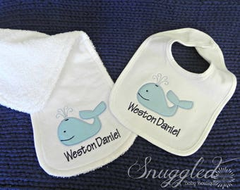 Personalized Whale Bib/Burp Cloth