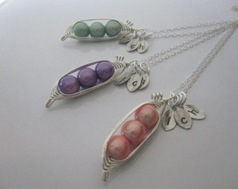 Like Peas in a Pod Necklaces (x3)    (2, 3, or 4 peas- pick your color)