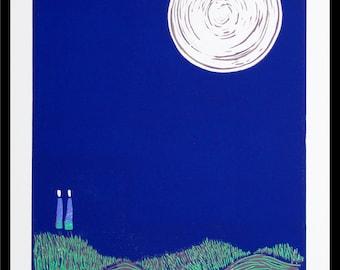 linocut, lovers, moon, night, couple, dark blue, full moon, printmaking, together, engagement, wedding, pair, lovers, romantic art, stars