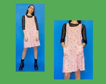 Vintage 80s 90s Pink Floral Sleeveless Jumper Dress