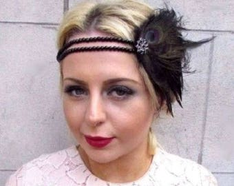 Black Feather Headpiece 1920s Headband Flapper Great Gatbsy Vtg Fascinator 4844