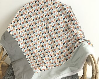 Minky baby blanket and Brown triangles grey fabric