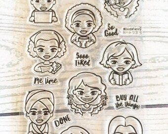 african american planner stamps, planner stamp sets, planner icon stamps, clear planner stamps, girl boss stamps, ethnic, multicultural, AcT