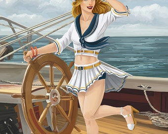 Pacific Beach, Washington - Sailor Pinup Girl (Art Prints available in multiple sizes)