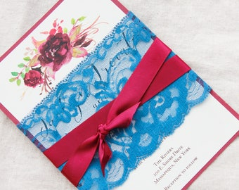 Blue and deep red wedding invitations, Steel blue lace invitations, marsala wedding, burgundy invitations, blue and red wedding, invites