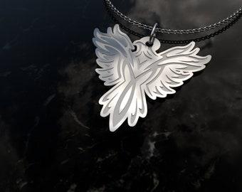 Phoenix Charm Necklace - Phoenix Pendant - .925 Sterling Silver Phoenix Necklace