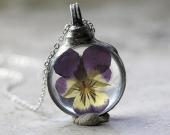 Pansy Necklace - Botanical Jewelry - Soldered Glass Pendant - Pressed Purple Flower - Terrarium Necklace