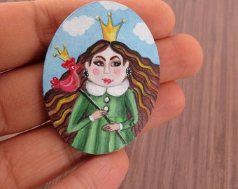 Original Miniature Painting on Wood, Acrylic Tiny Painting, Princcess with Crown, Funny Miniature Painting, Dollhouse Miniature