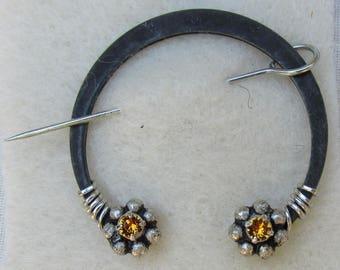 Penannular Brooch Shawl or Kilt Pin w/ citrine swarovski crystal finials