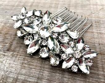 wedding hair accessories, bridal hair comb, bridal hair accessories, bridal hair piece, silver comb, rhinestone hair comb,  bridal hair clip