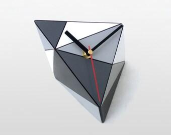 White Grey Black Desk Clock, Wood Table Clock, Black & White, Geometric Black Grey Triangle, Geometric decor, Desktop clock, Fathers day