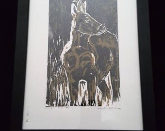 Deer - Print from original woodcut by south-tyrolean artist Herbert Lampacher