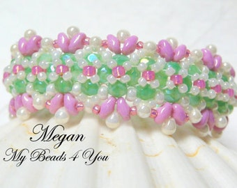 Beaded Bracelet, Pearl Bracelet, Seed Bead Bracelet, Embellished Bracelet,Beadwoven Bracelet, Superduo Beaded, Summer Jewelry, MyBeads4You