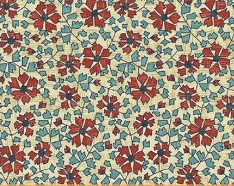 """End of Bolt, Cinnabar Red Floral Cotton Fabric from the Kashmir Collection by Rosemarie Lavin for Windham Fabrics 48""""x44"""""""