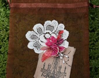 Ribbonwork Ribbon Work Flowers Jewelry Small Gift Bag Fuchsia Pinks Wedding Birthday Anniversary Valentines Day New Baby Garden Nature Lover
