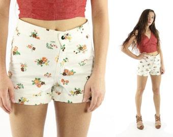 Vintage 70s Denim Shorts High Waisted Floral Shorts White Cotton 1970s Hippie Boho Fashion Medium M