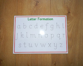 Letter Formation -  Handwriting Practice Mat - Tracing Letters - Wipe Clean, reusable, -writing letters, early learning, EYFS, SEN