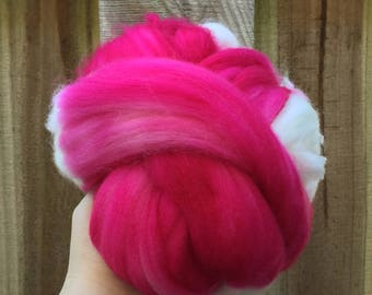 Spinning fiber - superwash merino nylon 3.53 ounces pink fuchsia magenta bright white natural roving top