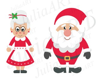 cartoon mrs santa and santa claus vector image
