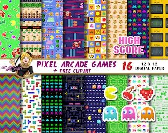 Arcade Games digital paper, pacman clipart, arcade party, gamer, pixel, tetris, zelda, space invaders, donkey kong, Scrapbook
