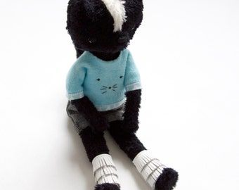 Eco friendly soft skunk plush, Stuffed animal skunk doll, softie, skunk plush, fur skunk bear in blue top and pants.
