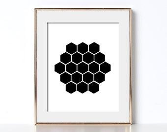 Hexagon Print Affordable Wall Art Digital Download Hexagon Poster Cheap Wall Decor Print Your Own Hexagon Print Black and White Printable