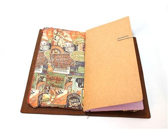 Zippered Insert for Midori Travelers Notebook, Standard Size, Personal Size, Passport Size, Micro Size - Travel Labels in Rust