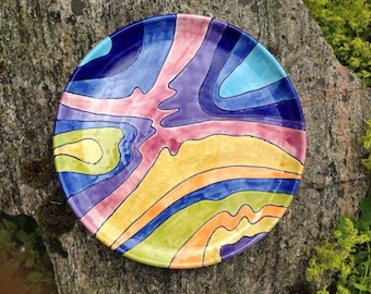 Ceramic Plate / Handmade Pottery / Hand Painted / Colourful