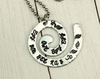 Fuck Off Necklace - Encrypted Words Necklace- Swirl Pendant -Hand Stamped - Sassy Snarky Jewelry - Curse You - Curse Words - Handmade