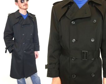 vintage men's black trench coat long belted jacket mod with belt and warm zip liner double breasted size 38 40 S small medium m
