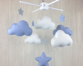 Baby mobile - cloud mobile - star mobile - gender neutral - nursery decle - baby crib mobile