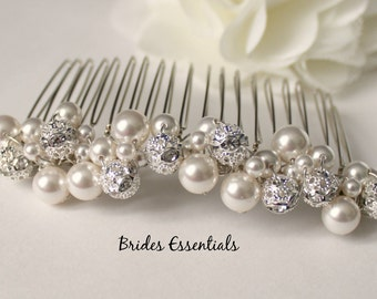Wedding Pearl Hair Comb, Bridal Pearl Comb, Wedding Hairpiece, Swarovski Pearl, Beaded Champagne Comb, Veil Attachment Comb, Bridesmaid Comb