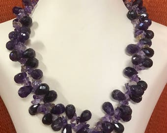 Big Amethyst Briolette Bead Necklace. Free shipping.