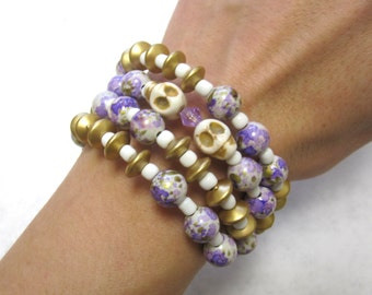 Sugar Skull Bracelet Day of the Dead Purple White Gold Wrap Cuff