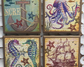 COASTERS! Nautical coasters with gold trim