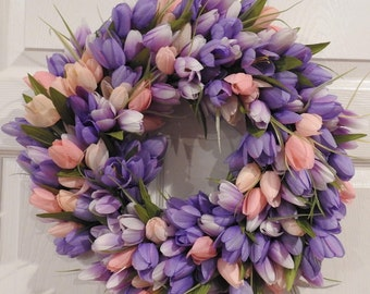 Tulip Wreath, Front door wreath, Spring wreath, Purple and Pink wreath