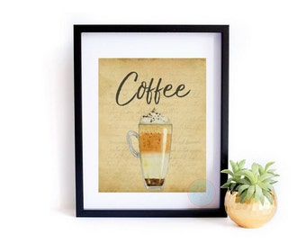 VINTAGE Printable Coffee Wall Art Coffee Printable Latte Wall Art Cafe Decor Kitchen Wall Art Gift For Coffee Lovers Trending Items Wall Art