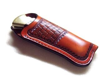 Buck 112 Custom Leather Knife Sheath with stitched belt loop
