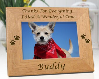 FREE SHIPPING - Dog Memorial Personalized Picture Frame - Thanks For Everything - Free Sympathy Card - Fast Ship