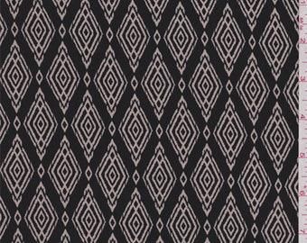 Smoke Black/Ecru Diamond Print Polyester Crepe, Fabric By The Yard
