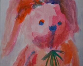 Original ACEO Watercolor Painting: My Bunny No.5