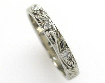 Diamond Hand Engraved Wedding or Anniversary Band with Vine and Leaf Hand Engraving