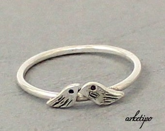 Love Birds Ring of sterling silver...Stack ring... Stacking Ring.. You will love it..