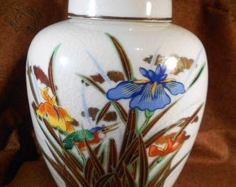 Vintage TOYO hand painted crazed finish ginger jar with iris flowers and kingfisher, ginger jar, TOYO, vase, iris, kingfisher, home decor