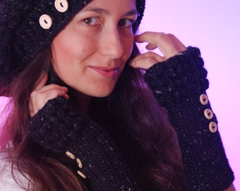 Black Knit Hat and Glove Set, Crocheted Slouch Hat, Winter Outerwear Accessories