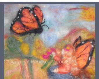 Printed Note Card - Soul Mates -image from wool painting -  Free US Shipping