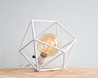 "The ""Mini"" Mercedes Geometric Table Lamp, WHITE Table Lamp with Edison Globe Bulb"